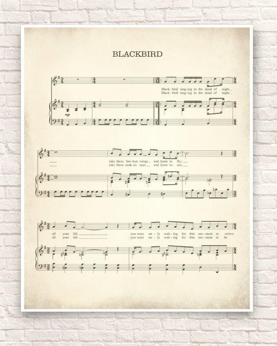 Blackbird Song Art Print Unframed Art Sheet Music Art