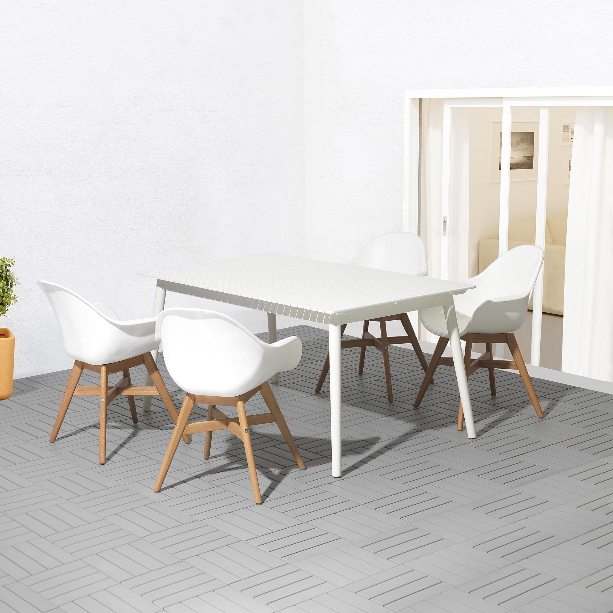 HATTHOLMEN / FANBYN Tisch+4 Armlehnstühle/außen Eukalyptus