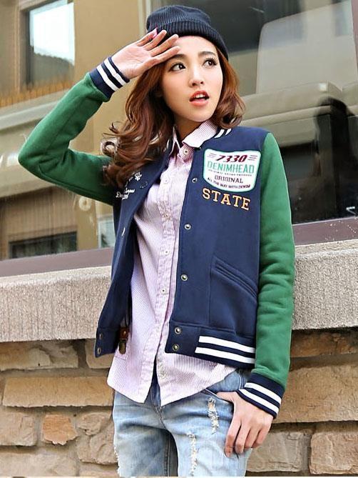Korean Style Letters Pattern Baseball Jacket