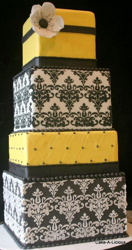 Love this #damask #wedding #cake in #black #white, and #yellow