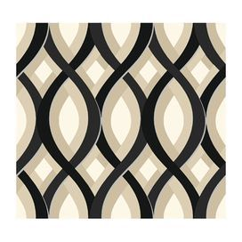 """Ogee-printed wallpaper. Made in the USA.Product: Wallpaper    Construction Material: Unpasted paper    Color: Vanilla beige     Features:   Unpasted, scrubbable, and strippable   Easy to follow instructions included in each roll  Design Repeat: 12.625""""   60 Square feet       Dimensions: 27"""" H x  27' W Cleaning and Care: Scrubbable. Easy to clean with sponge, mild soap and water."""