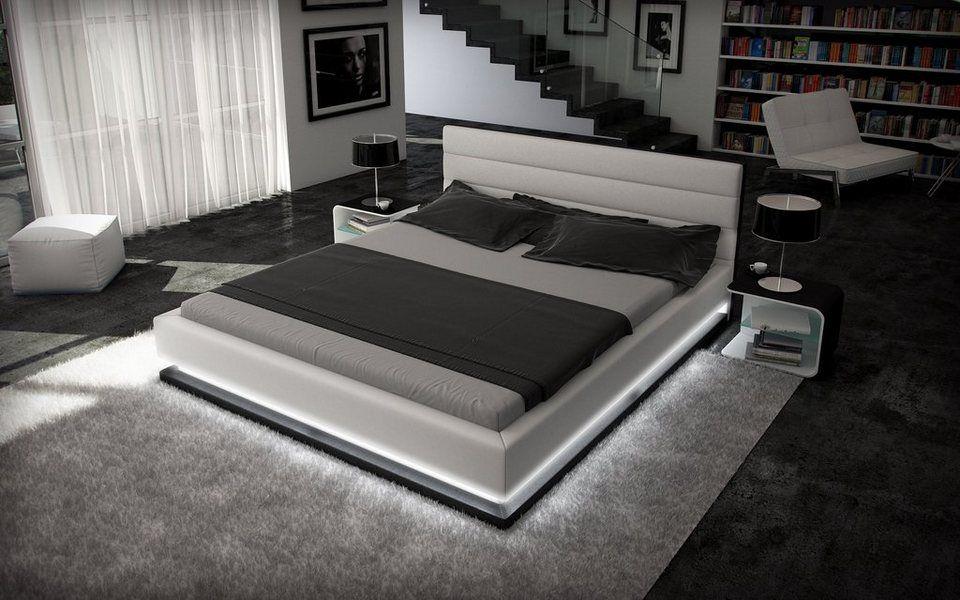 Innocent Designer Bett 180x200cm Kunstleder weiß schwarz Beleuchtung ...