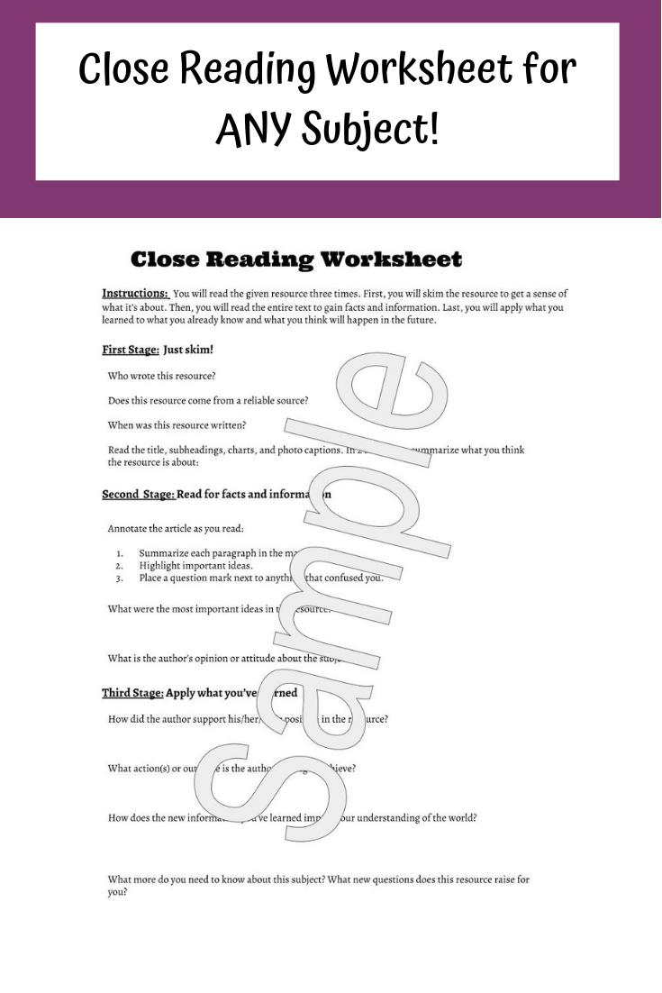 Close Reading Worksheet For Any Subject Close Reading Worksheets Nonfiction Articles Close Reading [ 1102 x 735 Pixel ]