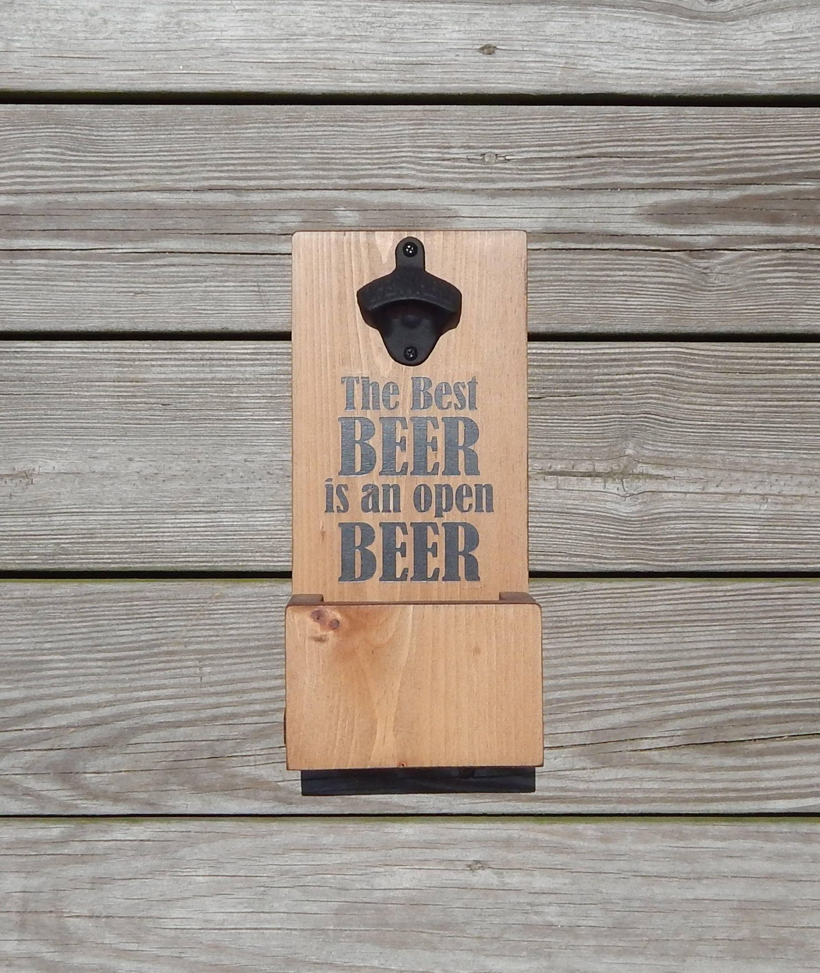 Home Is Where The Beer Is WOODEN WALL PLAQUE SIGN OPENER /& TOP CATCHER Home Bar