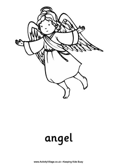 Print This Nativity Angel Colouring Page Part Of A Complete Set Christmas Story Pages