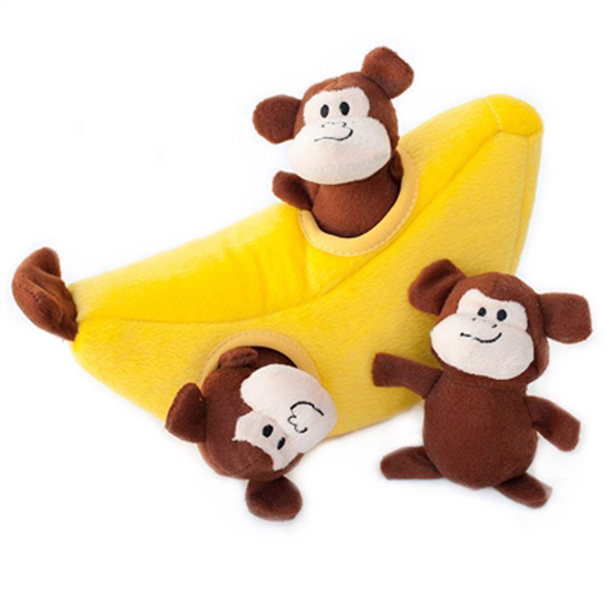 Interactive Dog Toys Exercise ZippyPaws Burrow Dog Toy - Monkey 'n Banana
