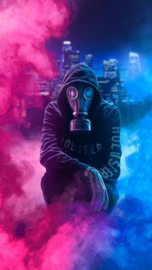 Hoodie Guy Mask Man Iphone Wallpaper Men Shoodies Men S Hoodies Guys Gas Mask Art Gas Mask Colored Smoke