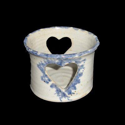 Heart-Cut-Out-Ceramic-Votive-Candleholder-Country-Blue-EUC