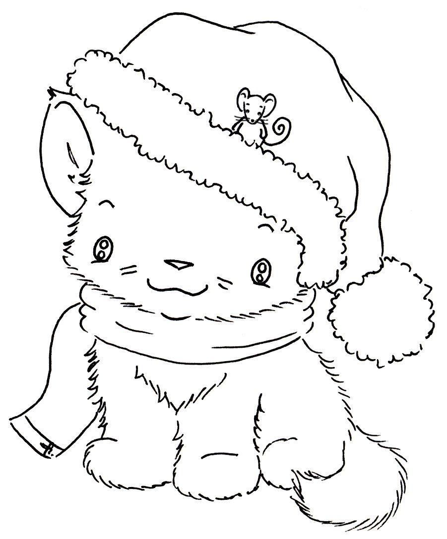 Christmas Kitten Digi Stamps Digital Stamps Digital Stamps Free