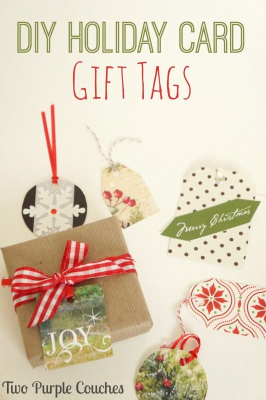 diy holiday card gift tags make your own gift tags using last year s christmas cards via www twopurplecouches com