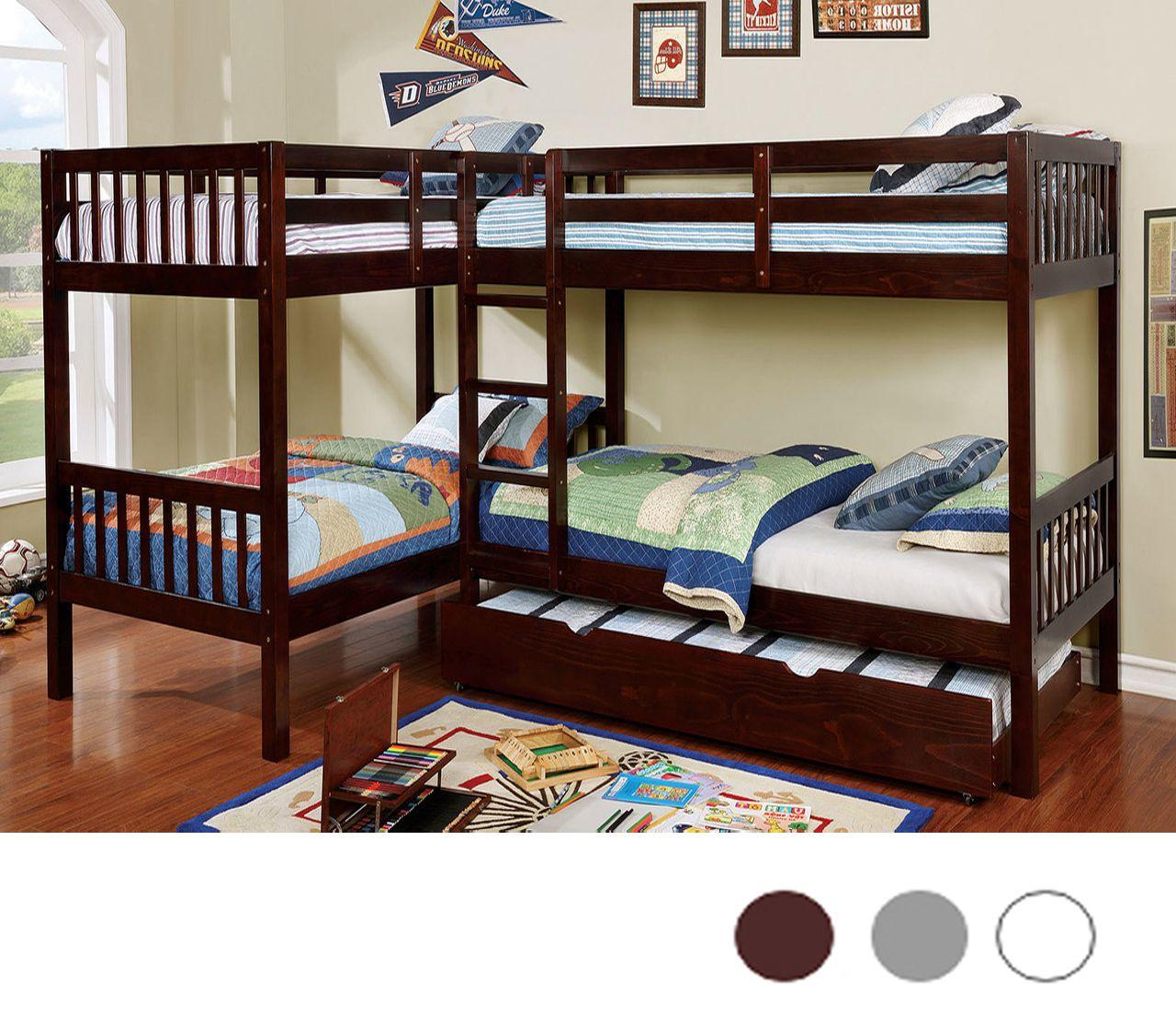 L Shaped Quadruple Wood Twin Bunk Bed in Dark Walnut (With