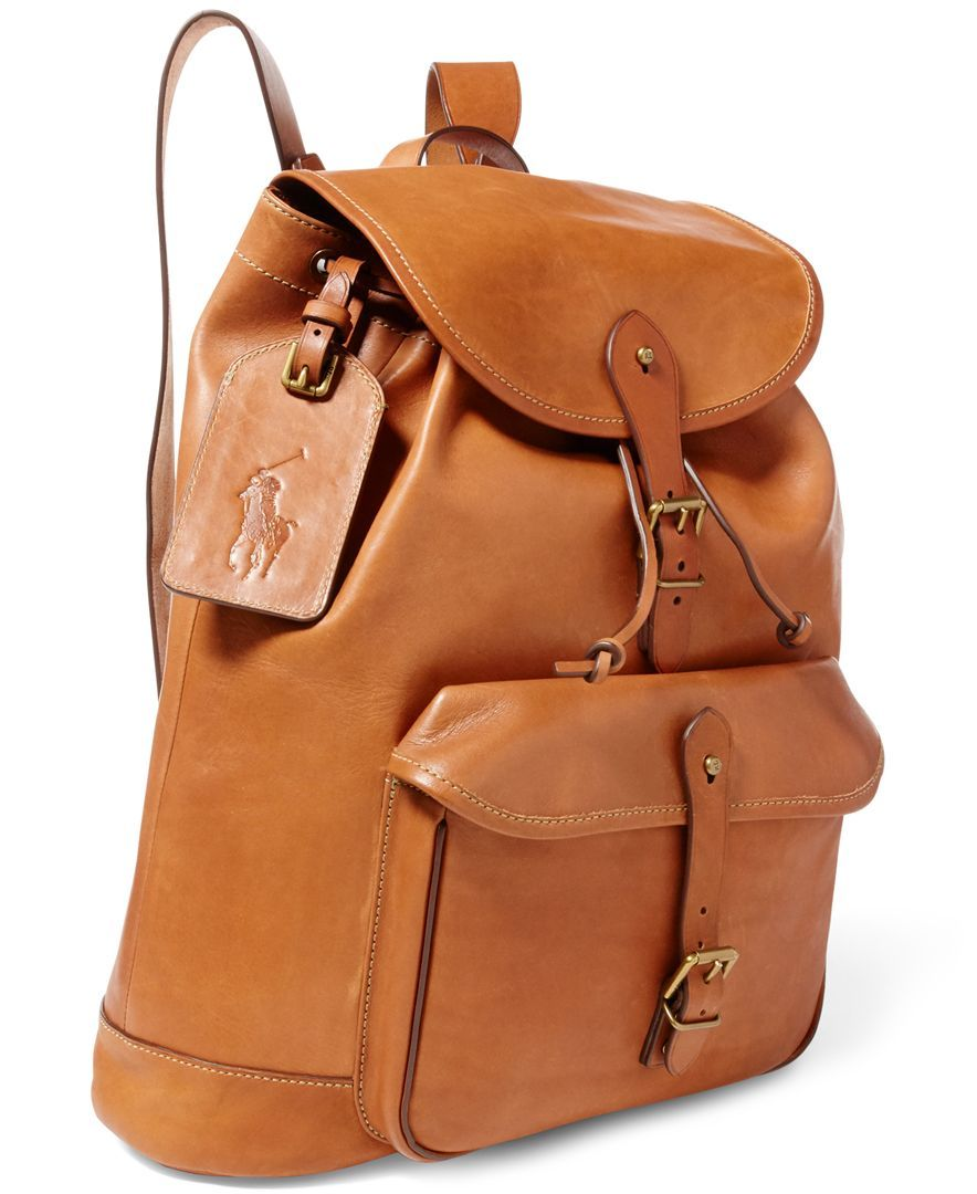 Polo Ralph Lauren Men's Leather Drawstring Backpack