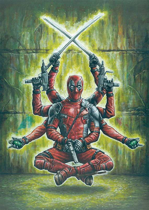"11.69"" x 16.53"" print of Deadpool originally painted in acrylic"