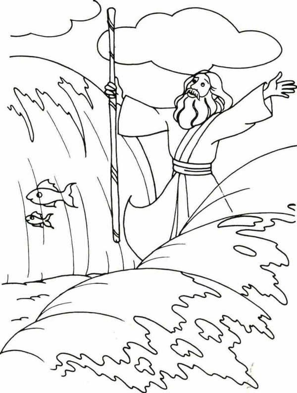 Moses, : Moses Divide the Red Sea with His Stick Coloring Page ...
