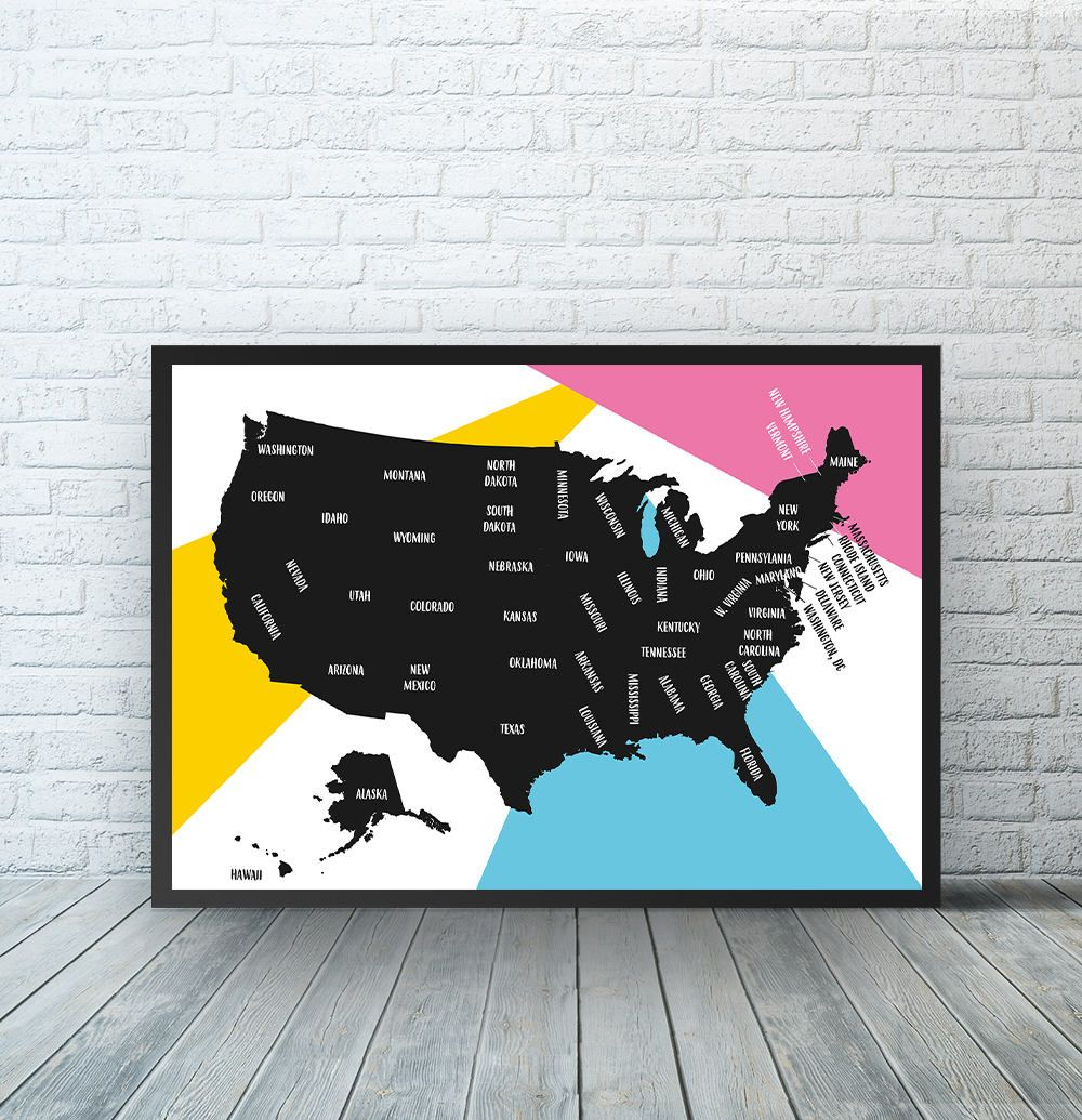 United States Map Print USA Map Decor United States Wall Art - Us travel map poster