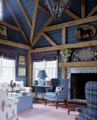 TARTAN AND RUSTIC WOOD GREAT ROOM | Tartan wall upholstery and heavy use of reclaimed wood architectural accents. Room would be furnished with all mid-century furniture, yet the actual space would be traditional/warm/woodsy.