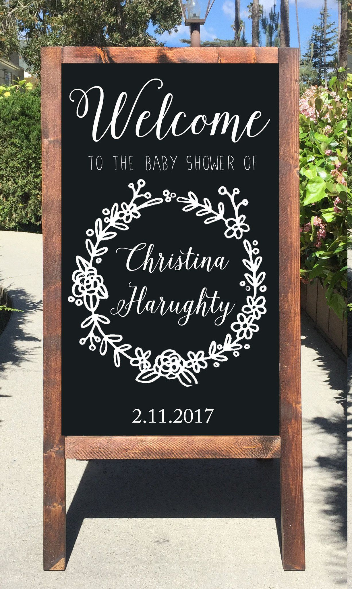 Welcome Baby Shower Chalkboard Sign Rustic Sandwich Board Easel Sign -  Heart And Hand