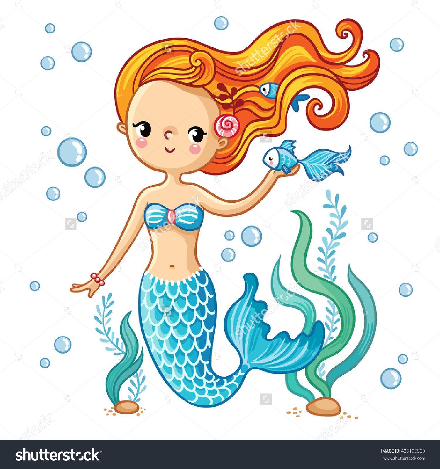 sea collection mermaid cute swimming cartoon mermaid mermaid in