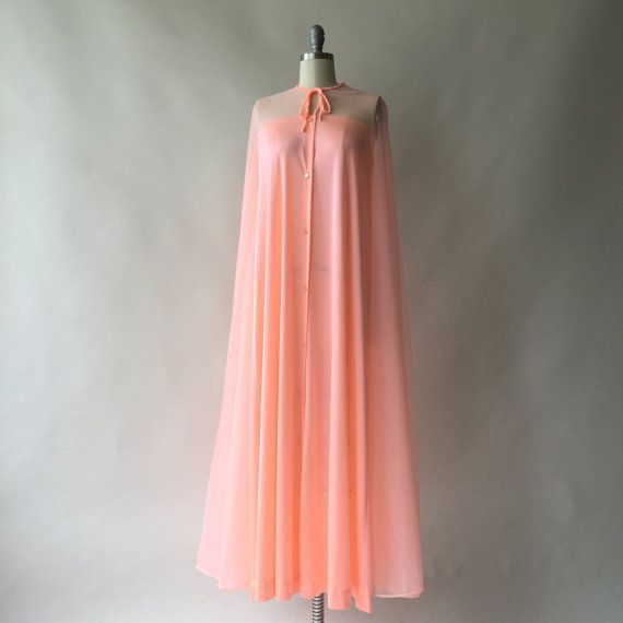 60s bright peach dressing gown or caftan with by CultOfChiffon