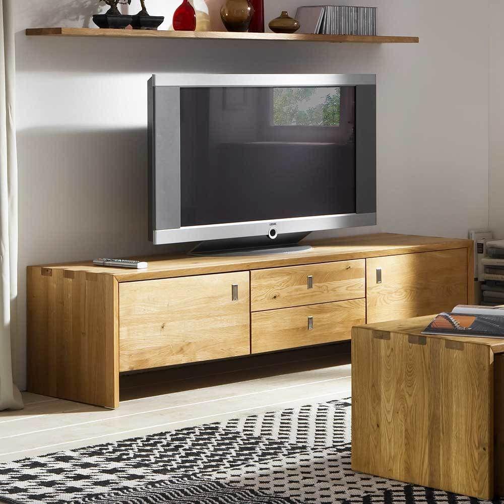 TV Unterschrank aus Wildeiche Massivholz mit Türen und Schubladen ...