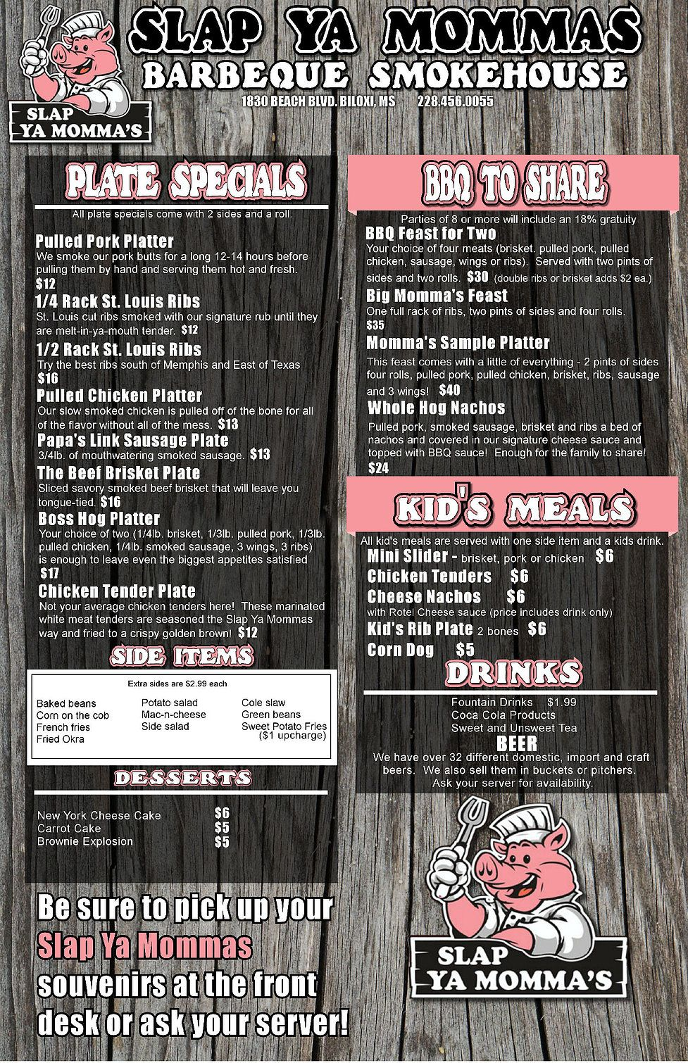 Slap Ya Momma S Bbq Biloxi Ms Menu Slap Ya Momma Bbq Restaurant Biloxi