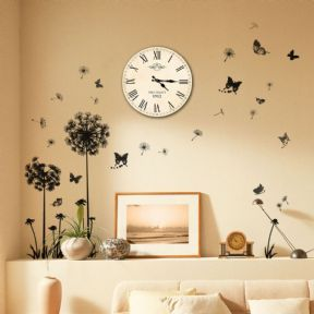 Walplus Retro Vintage Shabby Chic Paris France 1912 Dandelion Butterfly  Wall Clock Art Mural Decal
