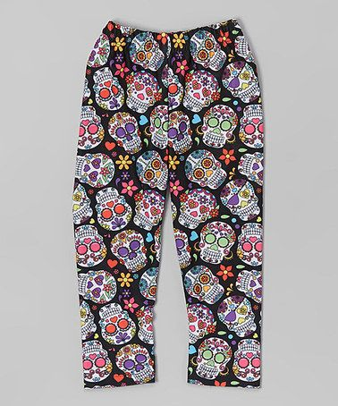 88e7328c31357 Another great find on #zulily! Black Sugar Skull Leggings - Infant ...