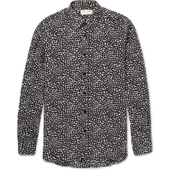 Saint Laurent Heart-Print Silk Shirt ($950) ❤ liked on Polyvore featuring men's fashion, men's clothing, men's shirts, shirts, men, black, linh vu, yves saint laurent mens shirt, men's apparel and mens clothing