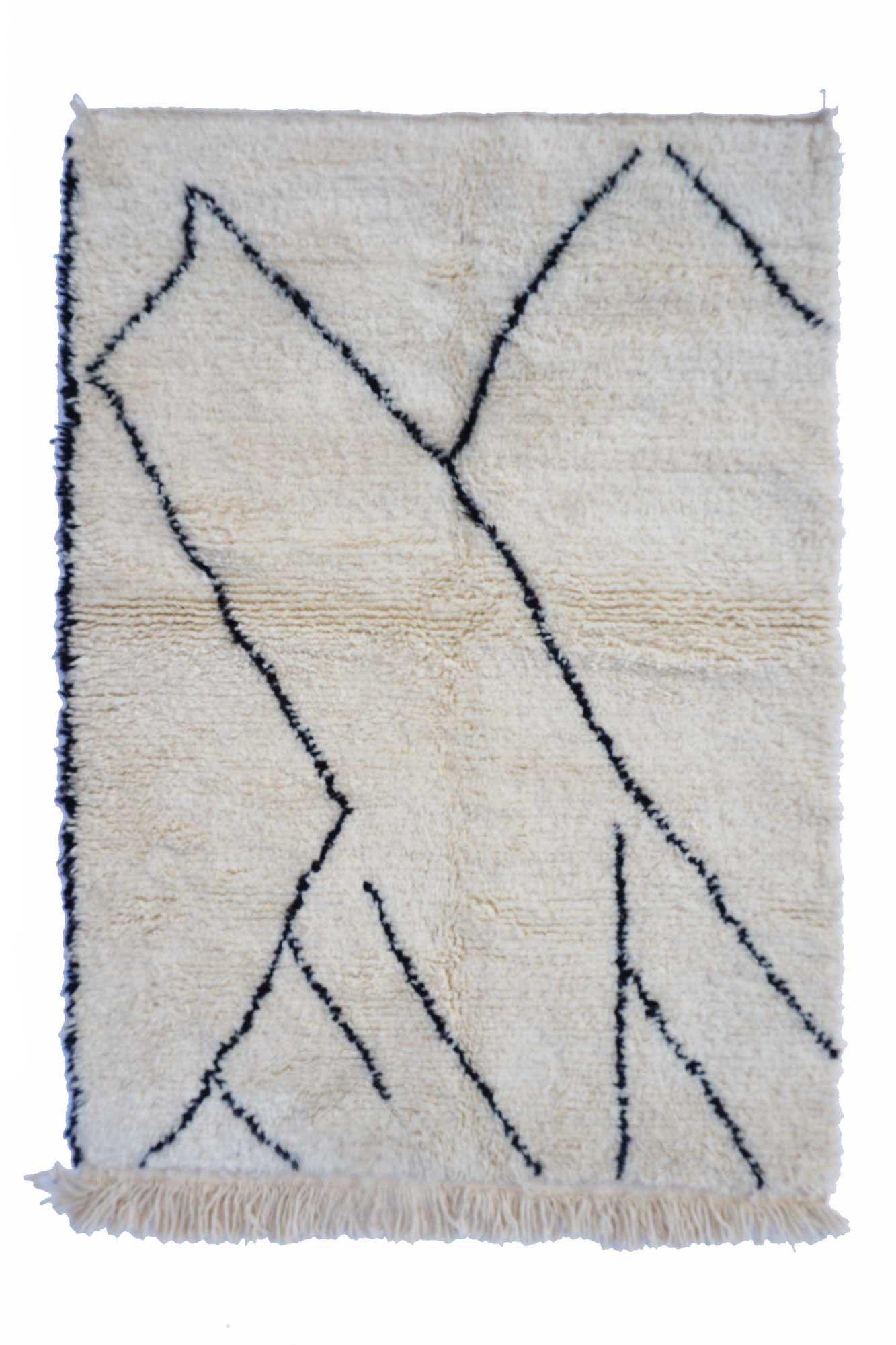 Tapis Beni Ouarain Noir tapis berbère béni ouarain graphique noir et blanc. tapis