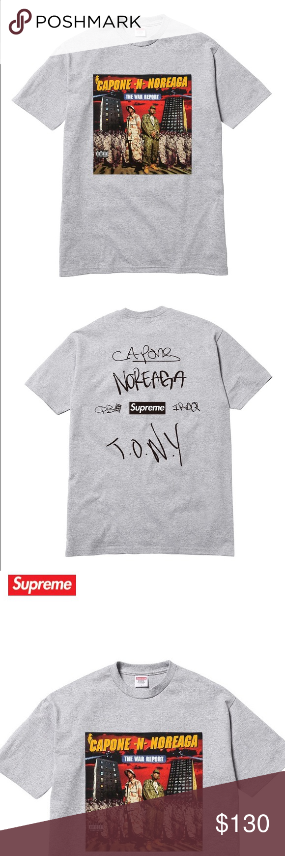 dd9d6365 Supreme Cnn war report tee FW16 supreme war report Capone n noreaga tee in  grey size medium has box logo on back nice shirt will post new pics when I  ...