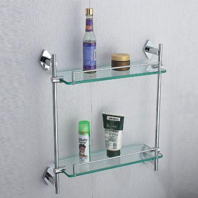 Estante dual de vidrio para ducha estantes ba os for Perchas bano sin taladro