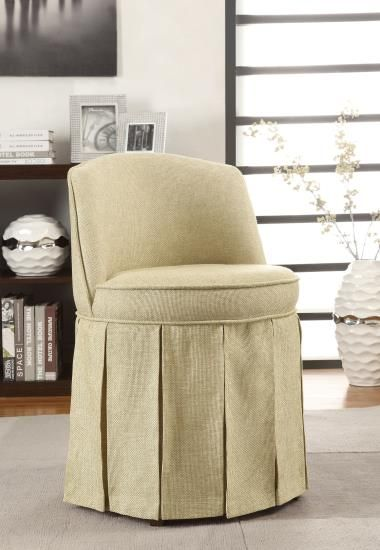 Beige linen like fabric upholstered skirted design seat curved back vanity stool