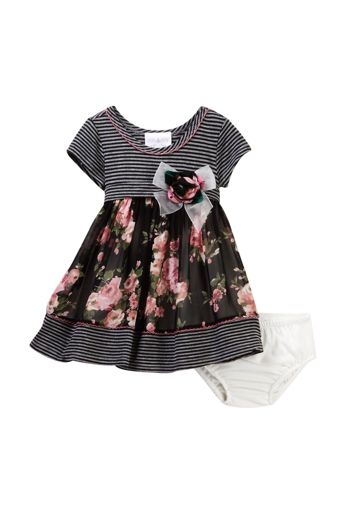 Iris & Ivy Knit & Chiffon Empire Dress Set Baby Girls 12 24M