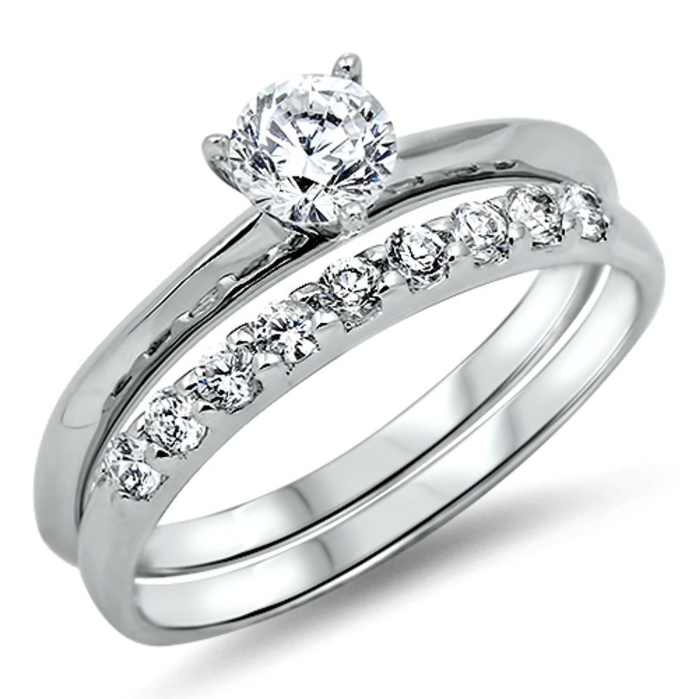 925 Sterling Silver Wedding Ring Set Size 5 Engagement Cz Cubic Zirconia W09 Sterling Silver Wedding Rings Sets Silver Wedding Rings Sets Wedding Ring Sets