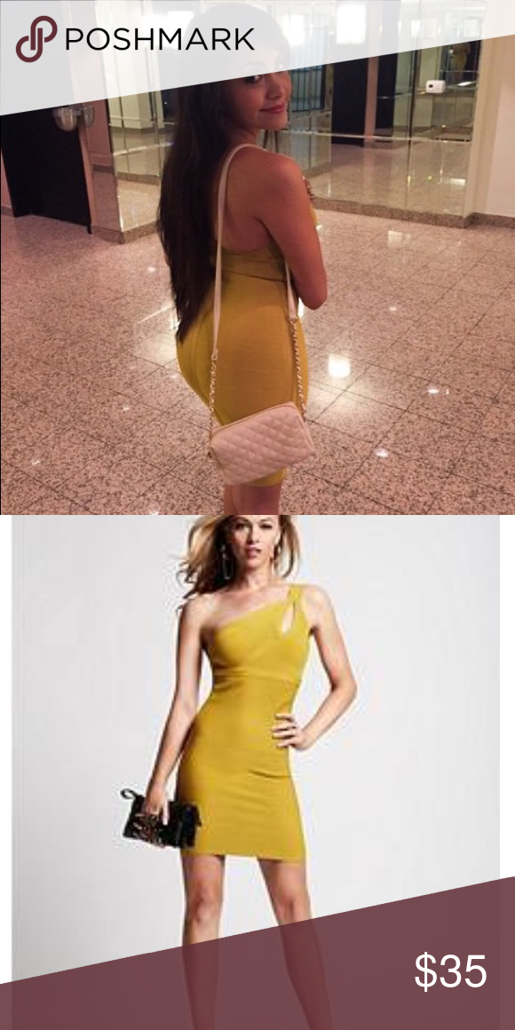 9c664bd27b8f 🔥SALE Guess 1 shoulder bandage dress Yellow bandage dress. Used and  showing signs of wear and tear