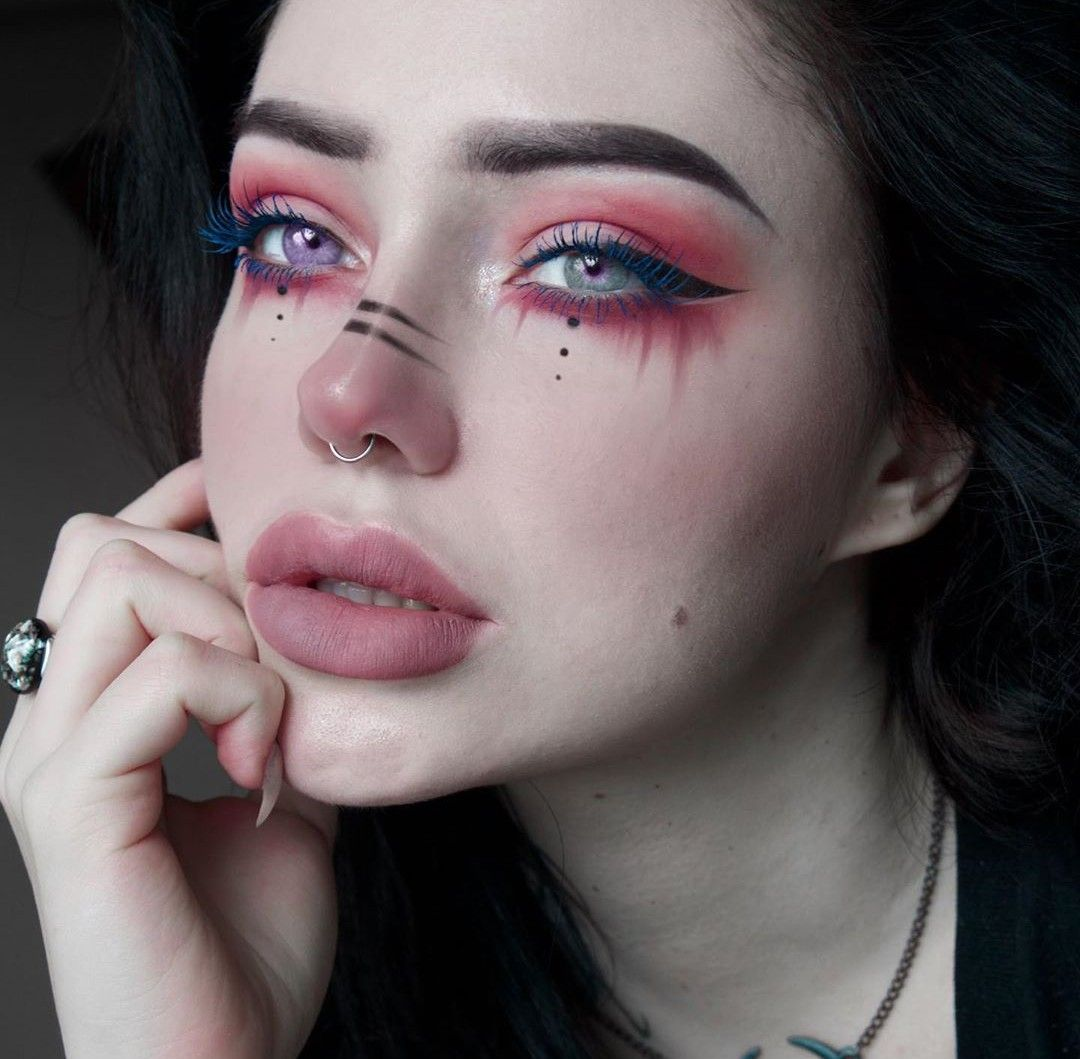 Ilost Unicorn Pagan E Girl Red Makeup In 2020 Edgy Makeup Grunge Makeup Nose Makeup