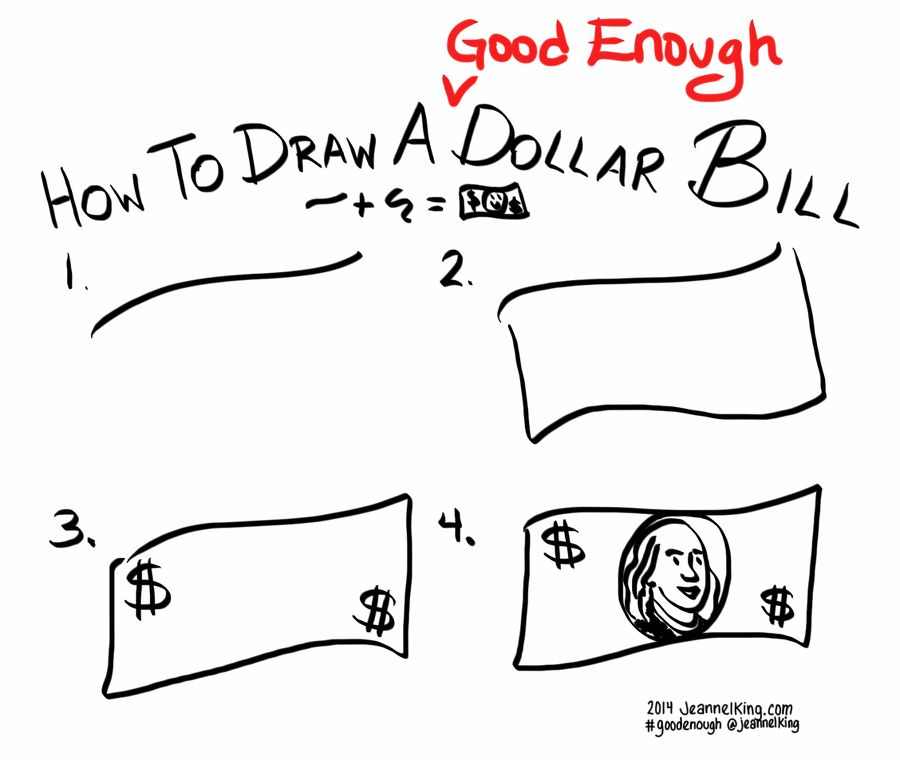 How to draw a Good Enough dollar bill! http://jeannelking.com/how-to ...