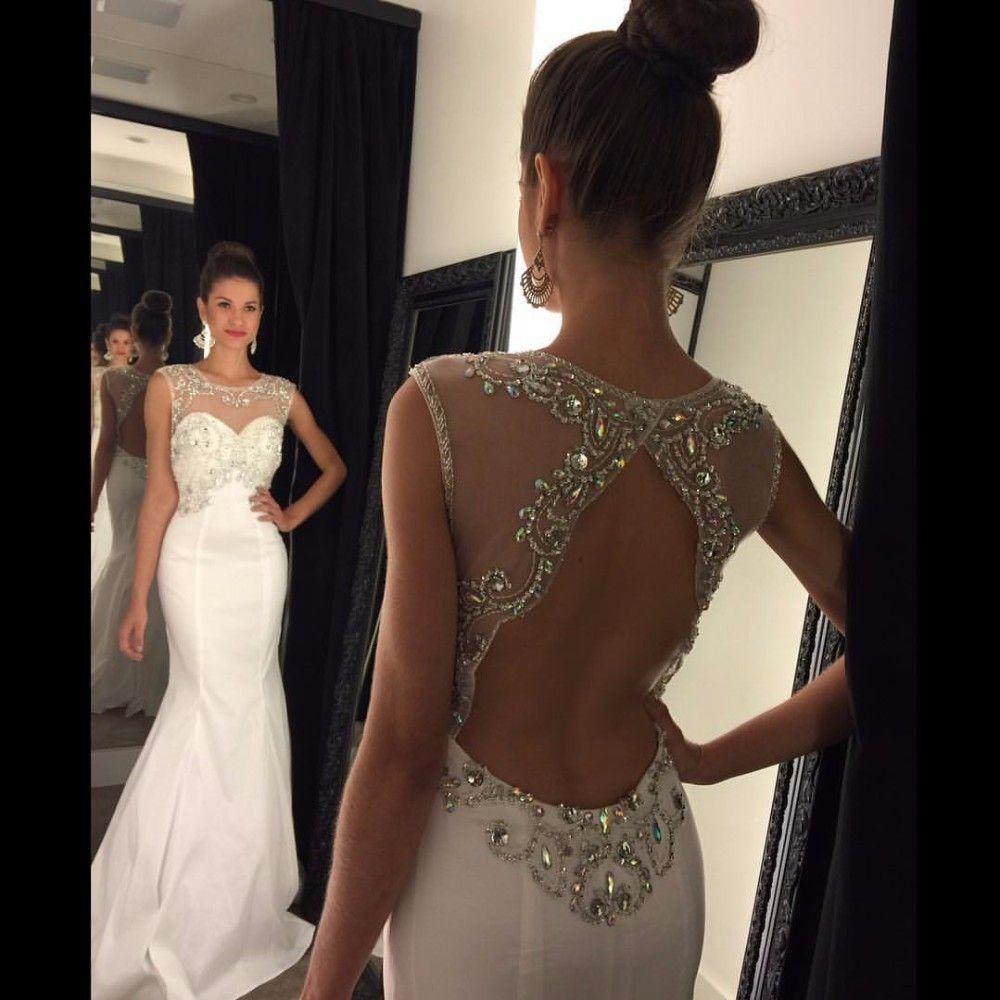Sexy Backless Prom Dress Csutom Made,Long Prom Dress,Beading Crystal ...