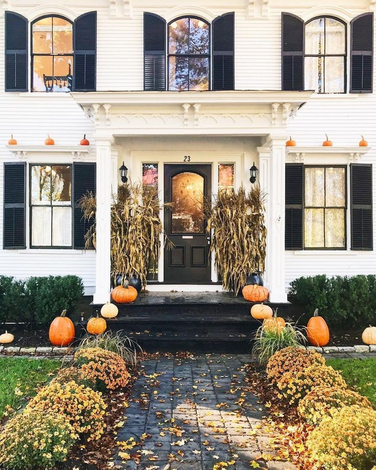 Fall And Halloween Front Porch Entryway Decor Decorations