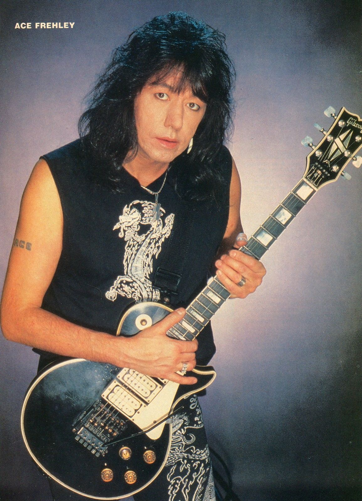 ACE FREHLEY PINUP CLIPPING 80's Gibson KISS | Ace frehley ...