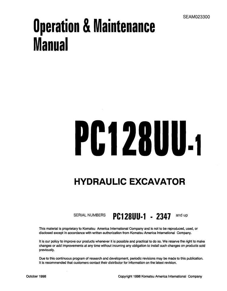 Komatsu Pc128uu 1 Hydraulic Excavator Operation Maintenance Manual Pdf Download Service Manual Repair Manual Pdf Download Operation And Maintenance Hydraulic Excavator Excavator