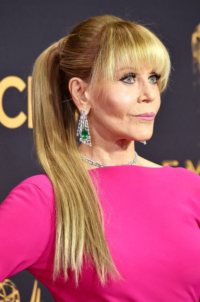 Jane Fonda Nearly 80 Wears Long Faux Ponytail To The