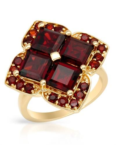 Ring With 6.00ctw Genuine Garnets Yellow Gold