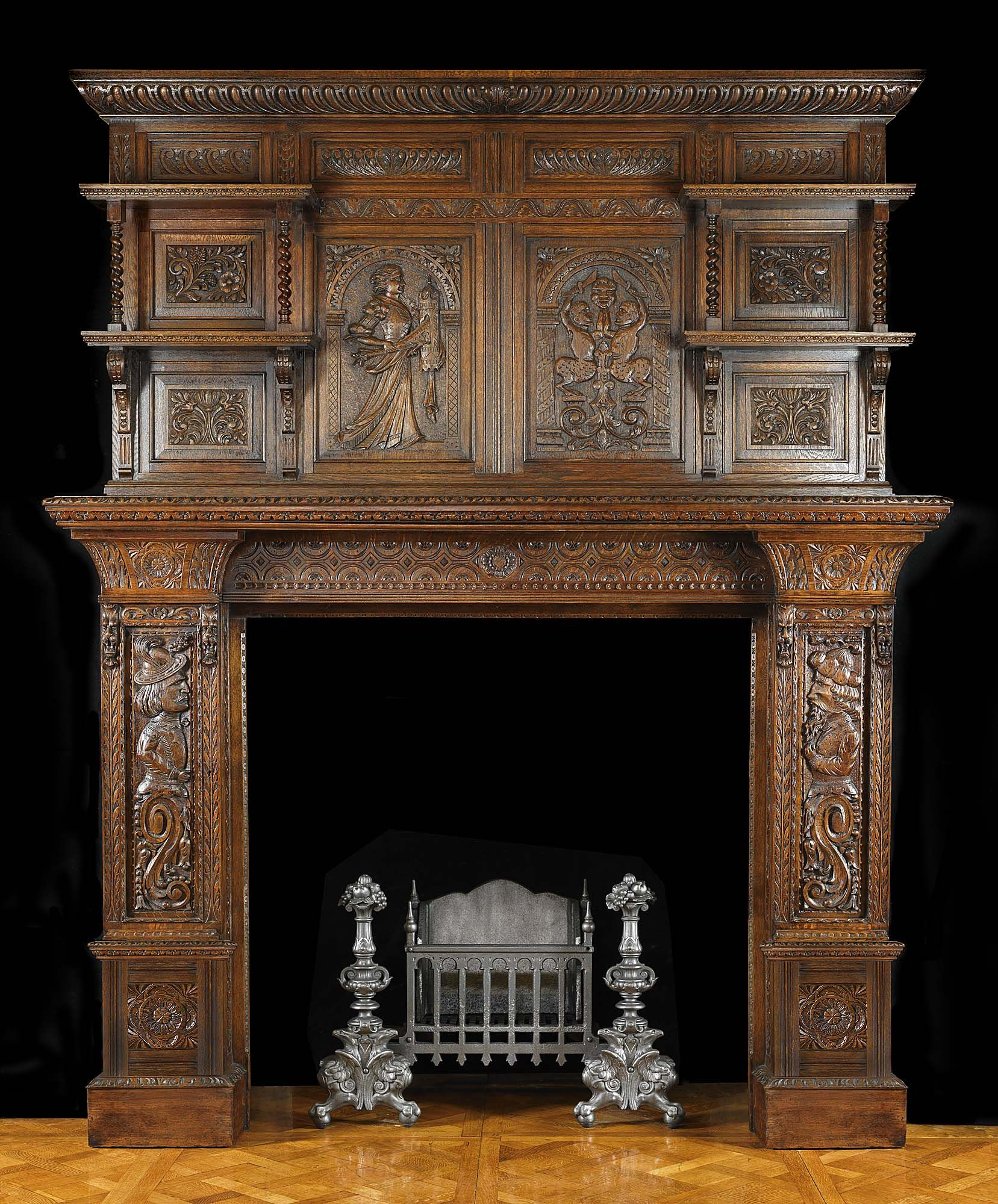 Antique Carved Oak Jacobean Fireplace Mantel, A small oval brass plate  attached at the back with the details Hewetson, Milner   Thexton Ltd, ... 3f346ce8b2