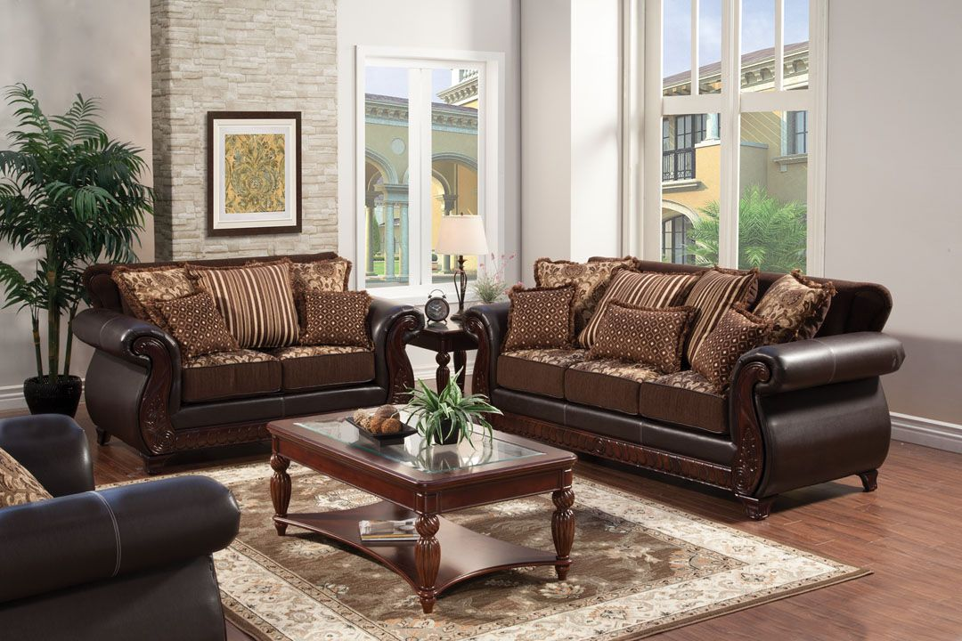 Franklin style two tone dark brown sofa and love seat set for Leather and fabric living room sets