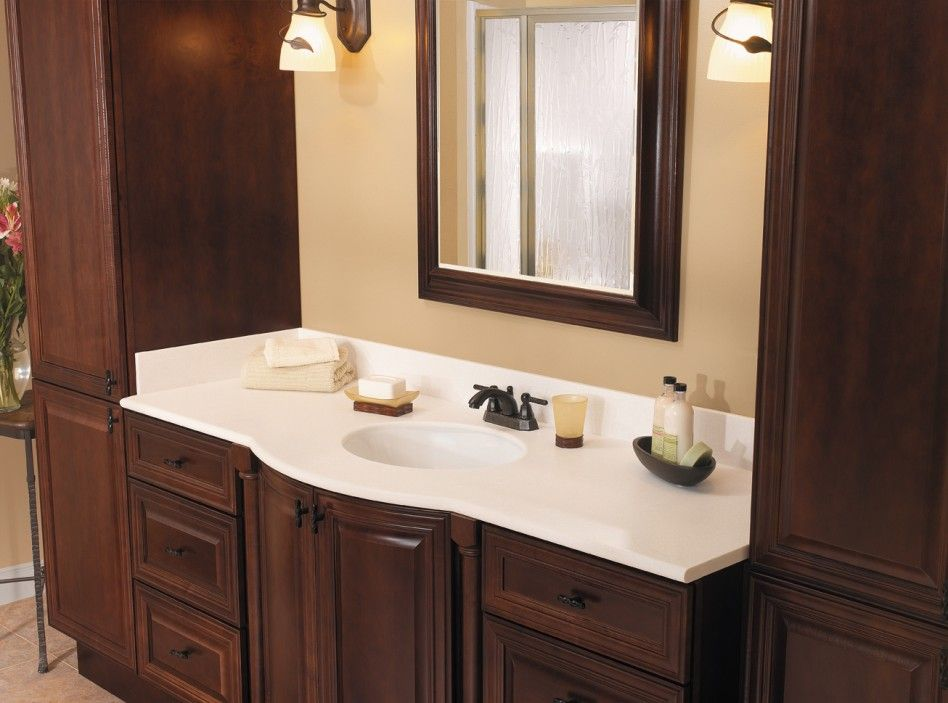 Bathroom, : Great Bathroom Furniture For Bathroom Decoration With Mahogany Master Bath Cabinet Including White Granite Vanity Tops And Round White Bathroom Sink