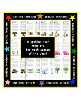 Spelling Test Templates - Holiday/Seasonal - 10 words + 2 ...