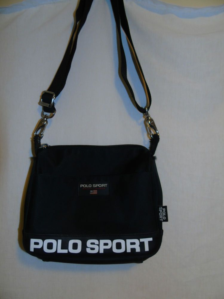 45b7b26549 Ralph Lauren Polo Sport Black 9.5x8 Crossbody Bag strap adjusts to 13-23