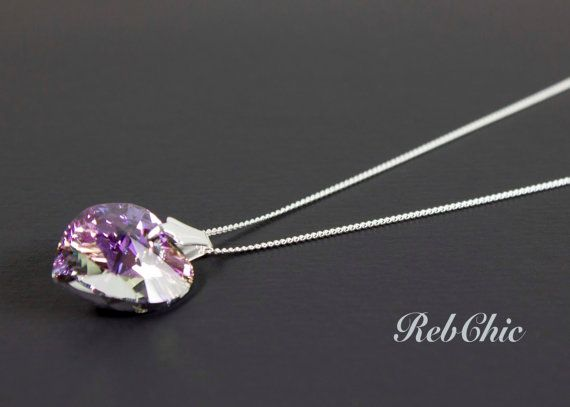 925 Sterling Silver Necklace with Swarovski heart by RebChic