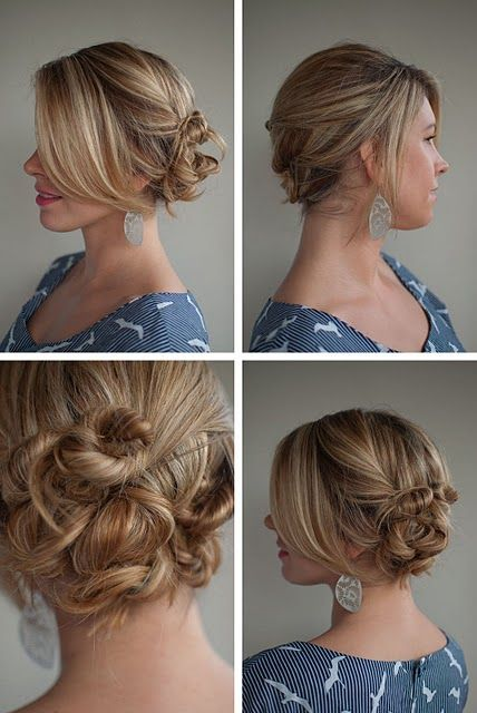Twist and pin to the side.  Casual, messy kind of updo. Looks easy enough... I think I'll try it!
